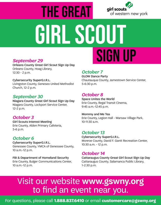 2018 Great Girl Scout Sign Up-Event Listing
