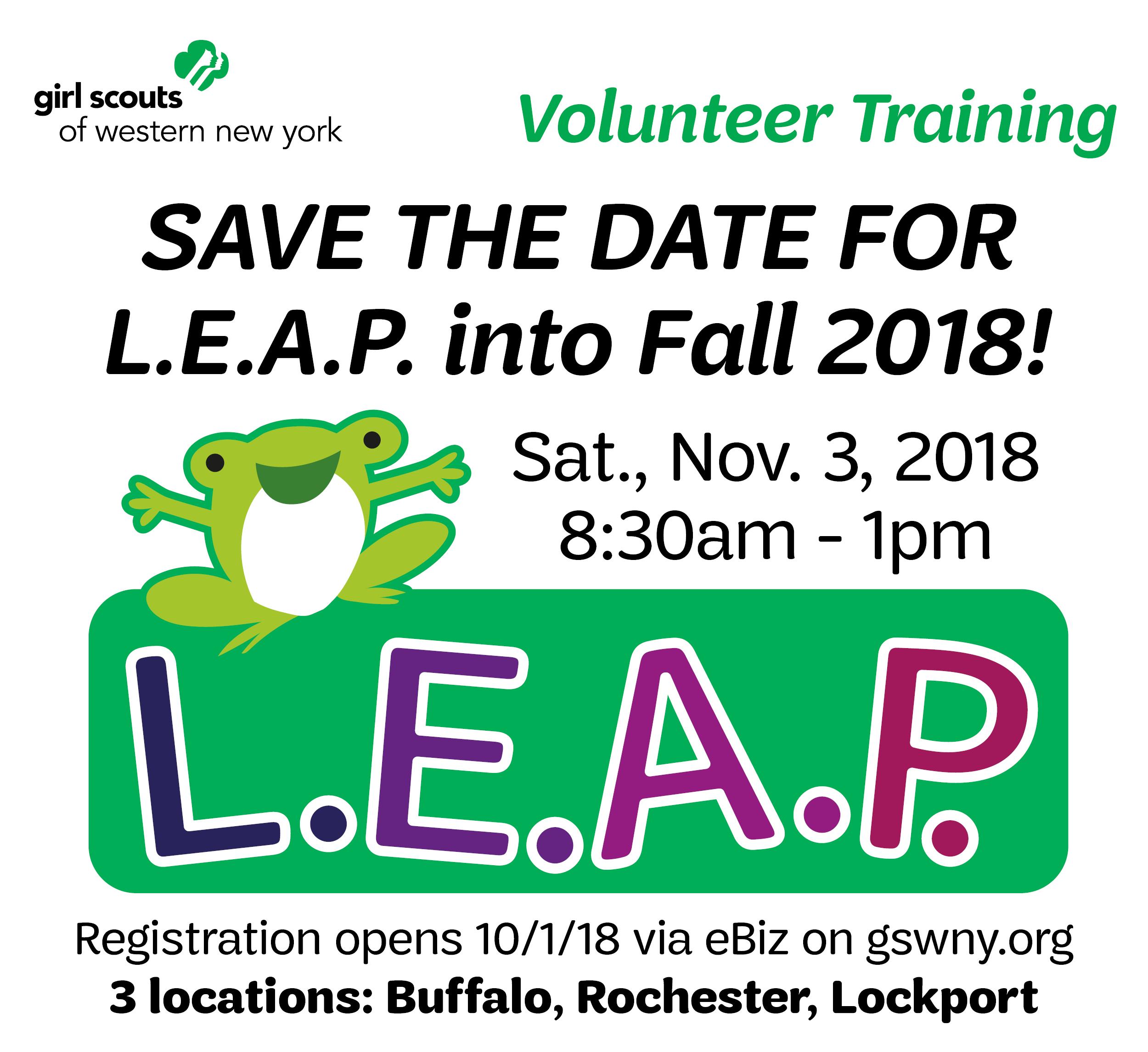 Fall 2018 L.E.A.P. save the date